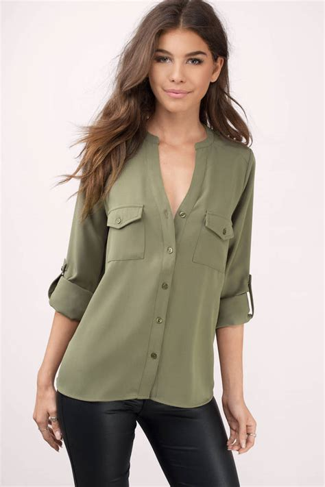 Olive Blouse Wd 1 olive blouse green blouse button blouse olive blouse tobi