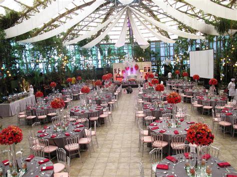 dramatic red  silver themed wedding  glass garden
