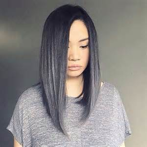 19 dark silver gray straight long hair