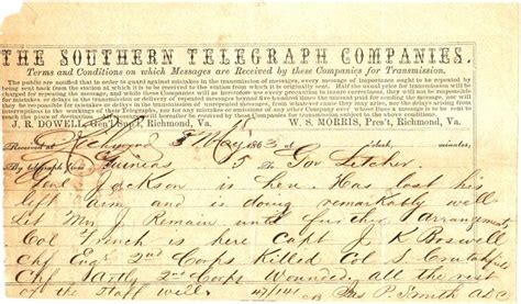 Brown County Wisconsin Birth Records May 1863 Quot The Southern Telegraph Companies Quot Telegram