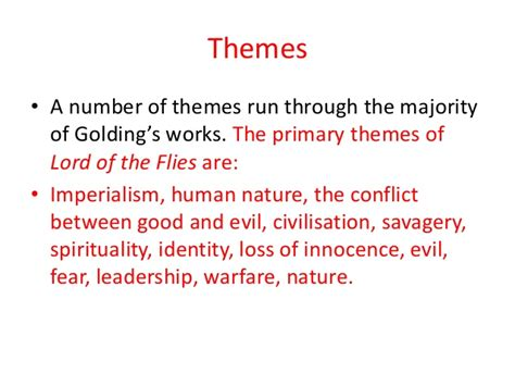 lord of the flies theme responsibility 5 themes of lord of the flies human nature themes in lord