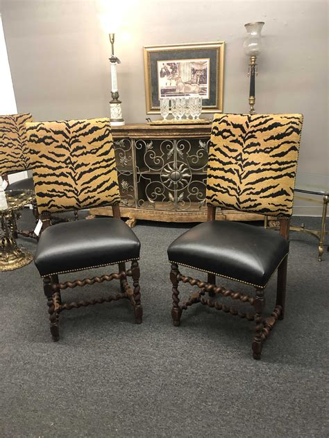 animal print upholstered barley twist chairs pair