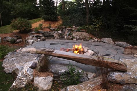flagstone patio with firepit indian run landscaping flagstone patio with