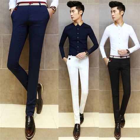 Kemeja Slim Fit White Slim All Size Cutton Strech 2016 fashion dress slim fit trousers all match applique cotton trousers