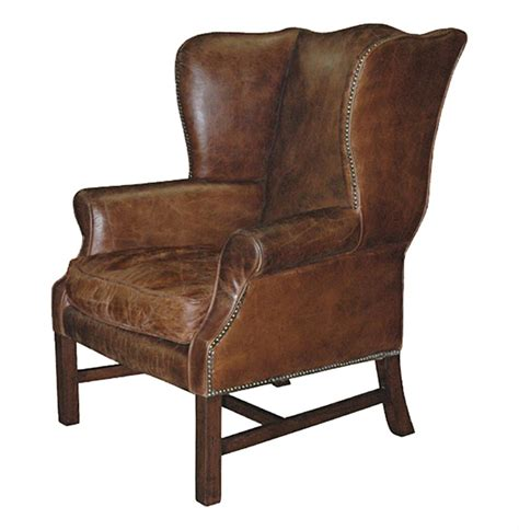 Wingback Leather Armchair by Gaston Rustic Lodge Aged Leather Wingback Library Arm