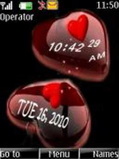 6300 themes love clock download heart clock nokia theme mobile toones