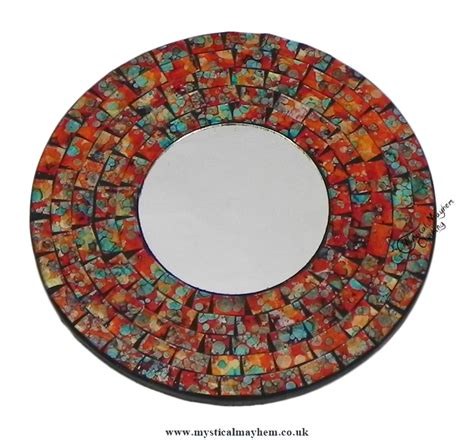 Handmade Mosaic Mirrors - fair trade orange coloured handmade mosaic mirror