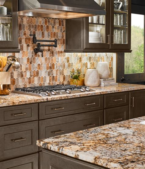 Unique Backsplash Ideas For Kitchen Caravelas Gold Granite Taos Picket Contemporary