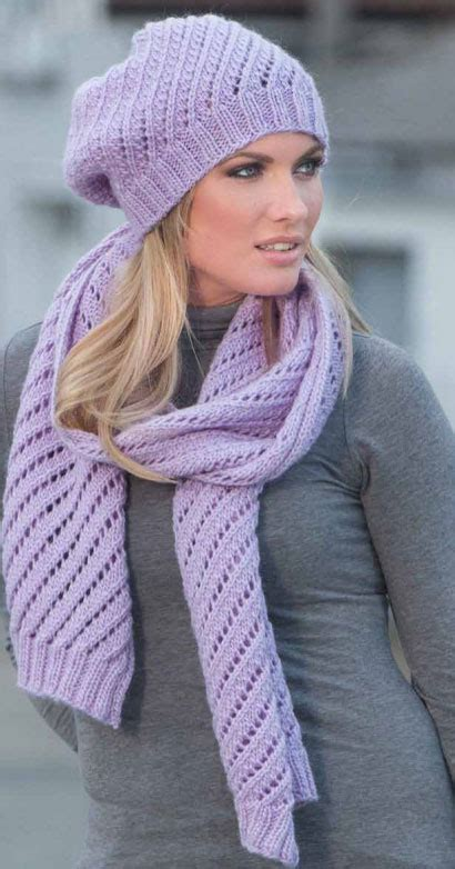 knitting patterns scarves hats diagonal eyelet scarf and hat knitting pattern knitting bee