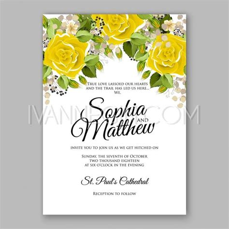 wedding invitation design yellow yellow rose floral wedding invitation printable gold