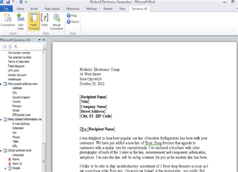 word email template microsoft word 2010 document template in dynamics ax 2012