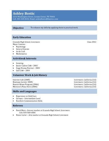 Resume Template 15 Year by Resume Template For Teenagers Resume Sle