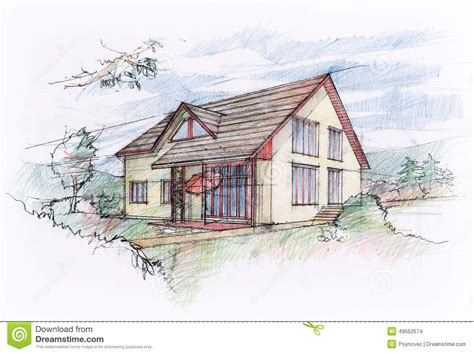 house sketch design stock illustration image of draw 49552574