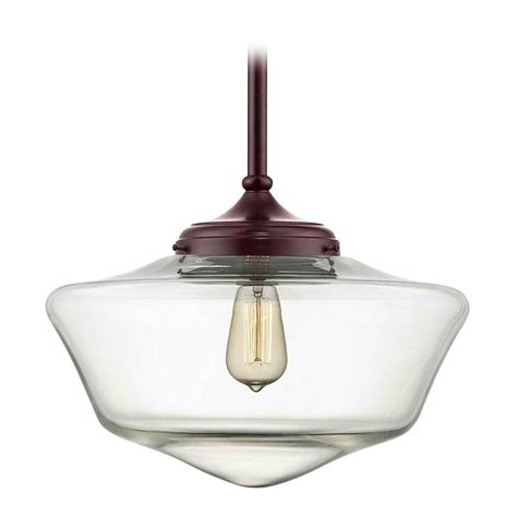 School House Pendant Light 16 Inch Bronze Clear Glass Schoolhouse Pendant Light Fa6 220 Ga16 Cl Destination Lighting