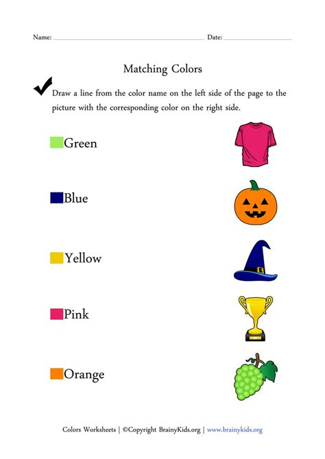colors worksheets matching colors with pictures