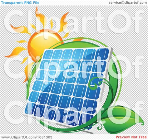 clipart sun above a solar panel with a green leaf circle 1