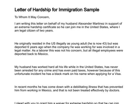 Hardship Letter Exle For Immigration Letter Of Hardship