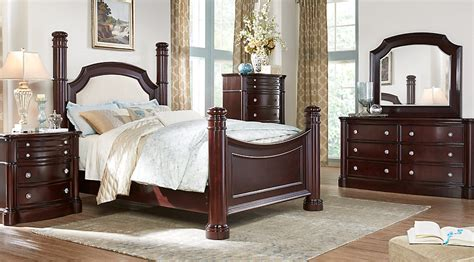 bedrooms to go furniture dumont cherry 5 pc king low poster bedroom king bedroom