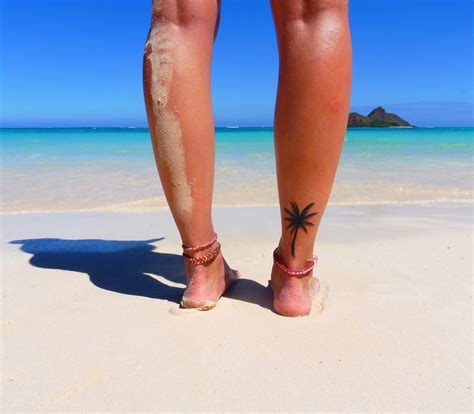 palm tree ankle tattoo ankle palm tree palm ankle