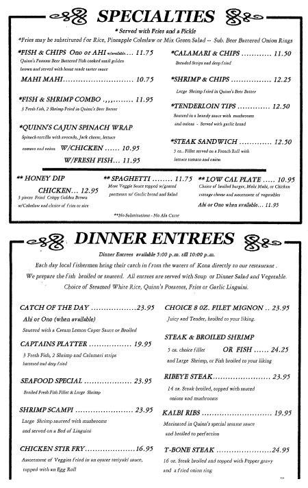 front room menu more quinn s menu