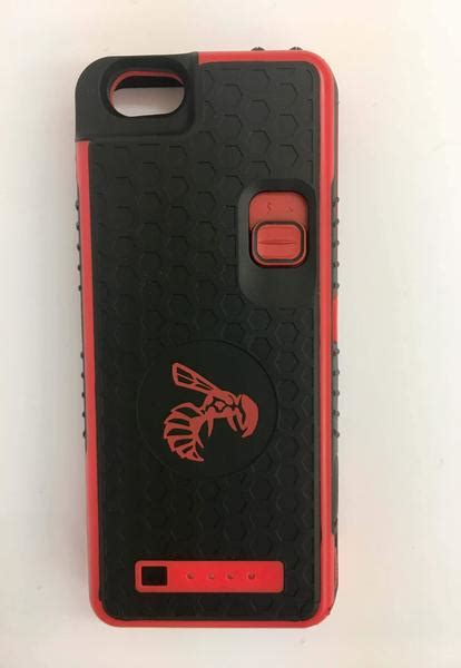 red iphone  case yellow jacket battery stun gun