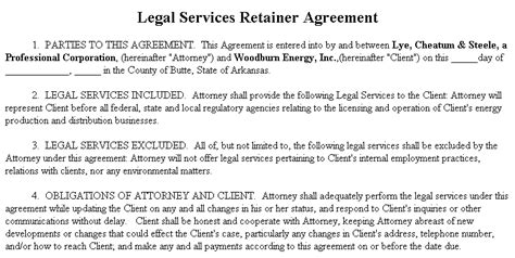 exle document for legal services retainer agreement