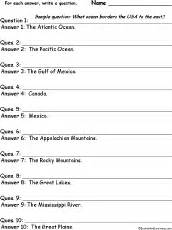 geography write a question for each answer worksheets