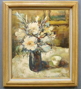 still life oil painting in wood frame tea cup on table by