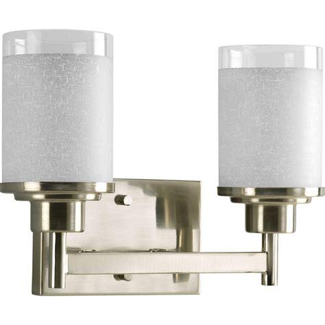 bathroom lighting fixtures home depot progress lighting alexa collection brushed nickel 2 light