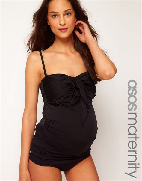 costume da bagno inglese asos maternity exclusive swimwear tankini top with bow