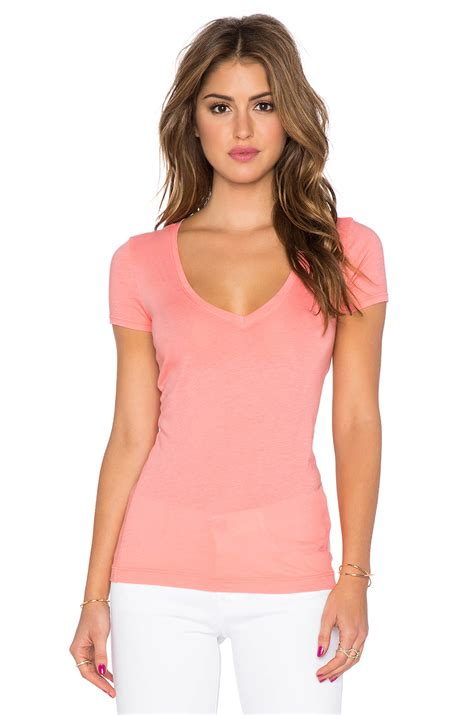 Cmb Vneck Dot Pink three dots sleeve v neck in pink lyst