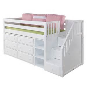 Great low loft bed with dressers bookcase and staircase