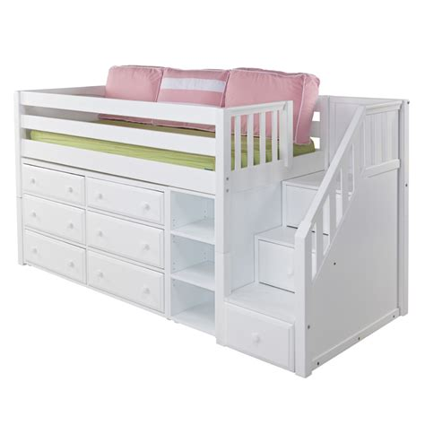 Bunk Bed Dresser Great Low Loft Bed With Dressers Bookcase And Staircase