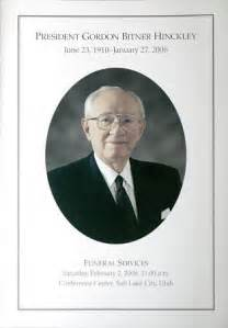 lds funeral program template photos funeral program for president gordon b hinckley