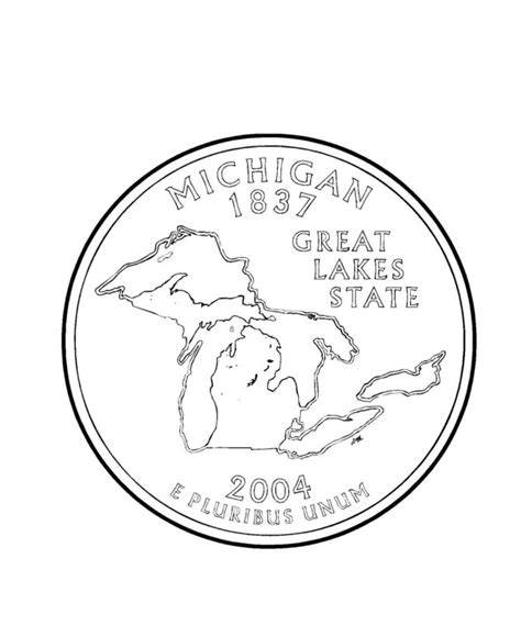 coloring page quarter michigan state quarter coloring page about michigan