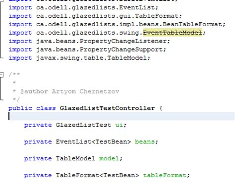 java swing list java glazed lists eventtablemodel class stroked in