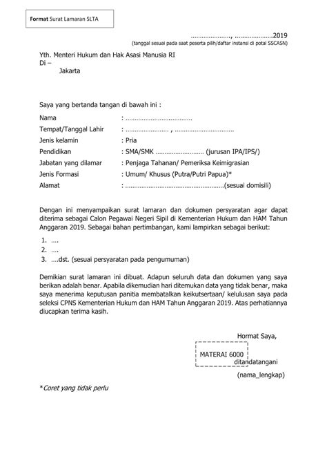 Format Surat Lamaran CPNS Kemenkumham SLTA S2/S1/Diploma