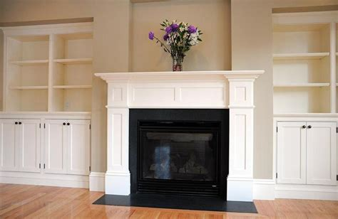 Craftsman Style Built In Bookcases White Mantel Colonial Fireplace