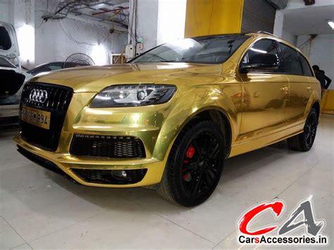 gold car gold car vinyl wrap 3m chrome gold audi q7 vinyl wraping