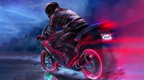 retrowave biker art  wallpapers hd wallpapers id