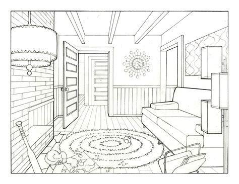 living room drawing jenn johnson s art blog 1960 s living room
