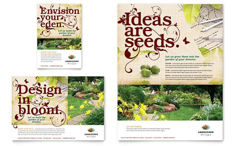 Landscaping Advertising Ideas Landscape Design Flyer Ad Template Design