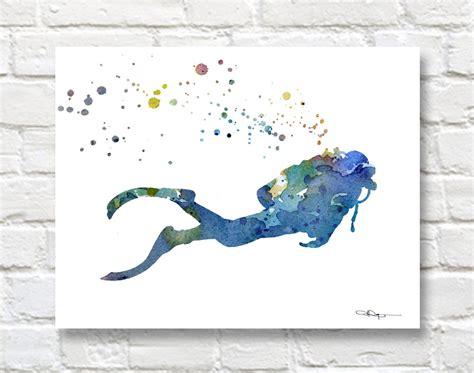 Diving Helmet Print Diver Poster - scuba diver art print abstract watercolor painting wall