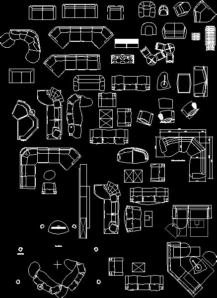 Living room furniture in AutoCAD | Download CAD free (558