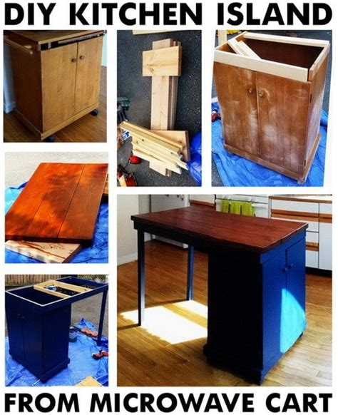 a bundle of fun diy kitchen island diy turn a common microwave cart into a vintage kitchen