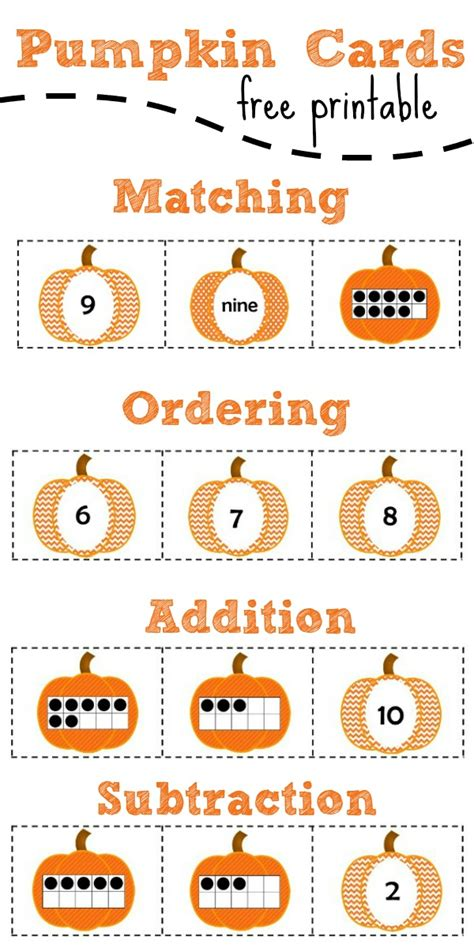 template of 0 10 cards free printable pumpkin number cards fantastic learning