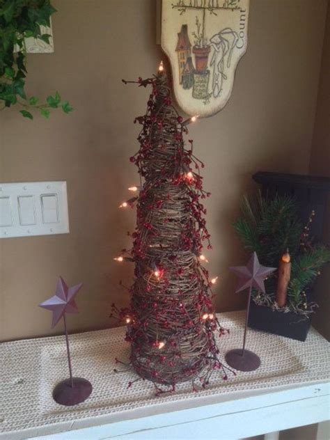 handmade 2 ft primitive twig cone tree with lights