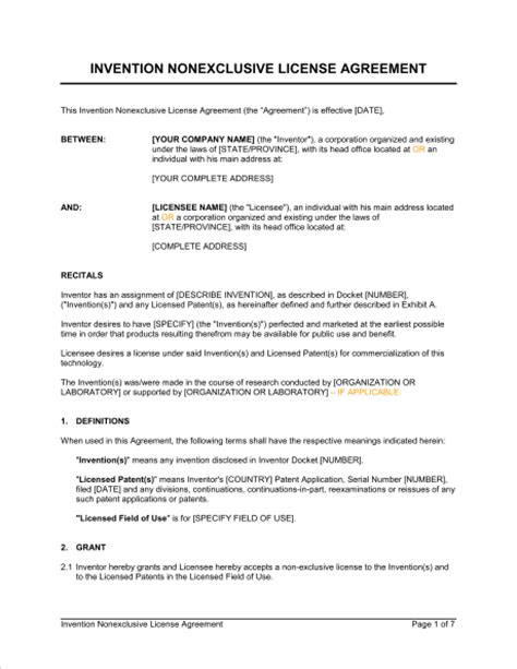 Invention Nonexclusive License Agreement Template Sle Form Biztree Com Patent License Agreement Template