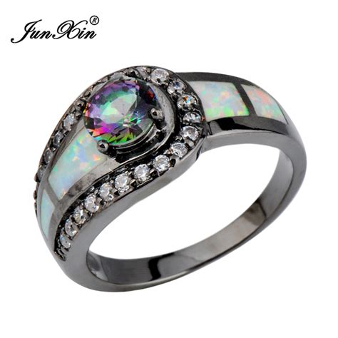 rainbow opal ring black gold filled jewelry