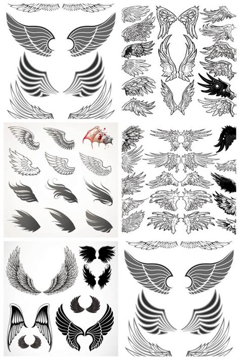 tattoo angel vector wings templates vector 5 sets with different vector wings